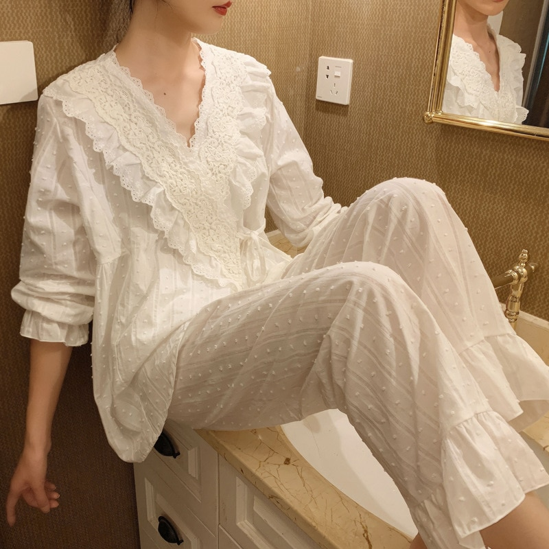 Весенне-осенний хлопковый кардиган с V-образным вырезом, женские пижамные комплекты, Милая женская пижама с длинным рукавом, кимоно-пижамы, ...