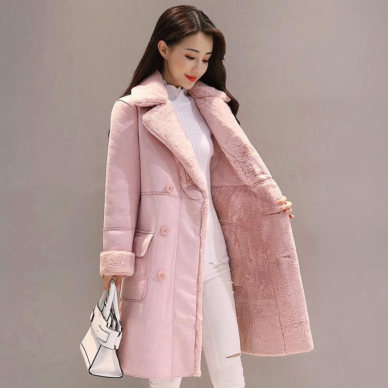 Abrigo femenino de invierno para nieve 2019, abrigos de piel de venado para mujer, abrigos largos, Parka, chaqueta gruesa informal holgada de imitación de cordero para mujer
