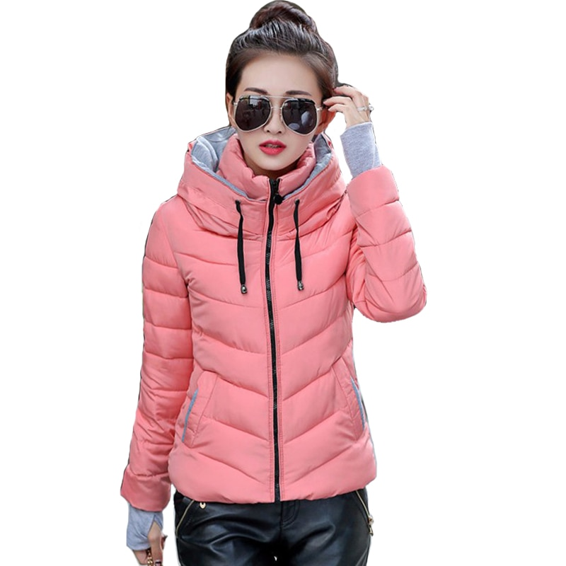 2021 Hooded Women Winter Jacket Short Cotton Padded Womens Coat Autumn Casaco Feminino Inverno Solid Color Parka Stand Collar