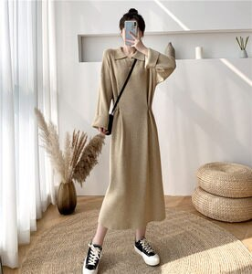 Jumper Knit Shirt Dress Women 2021 New Spring Autumn Loose Chic Mid-Length Base Sweater Lapel Long Dress With Side Button y956
