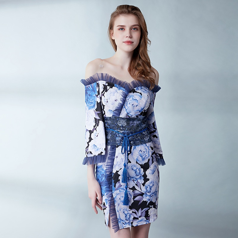 Tres cuartos corazón Mini sirena vestido de graduación atractivo vestido de noche parte Vestido corto Gala Vestidos vestido elegante para graduación vestido azul 2019