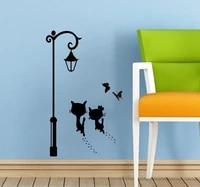Nouveaux autocollants muraux de Couple et de chat  autocollants decoratifs papillon pour lampadaire de chambre denfants  autocollant mural de salon  decoration de maison