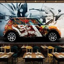 Custom Retro Nostalgic Graffiti Car Poster Photo Mural 3D Creative Cafe Restaurant Living Room Backdrop Wall Painting Wallpaper