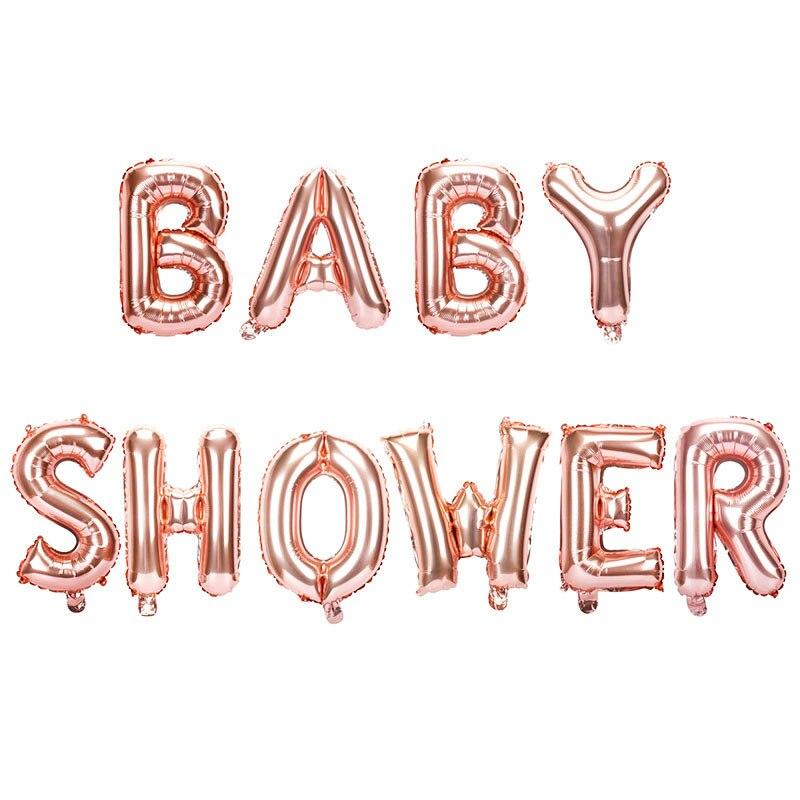 Globos de ducha de bebé de oro rosa de aluminio de 16 pulgadas, Baby Shower es un niño niña, Oh decoración para fiesta de bebé, género, revelar suministros