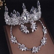Baroque Sparkly Crystal Bridal Jewelry Sets Rhinestone Tiaras Crown Necklace Earrings Set Wedding Dubai African Bead Jewelry Set