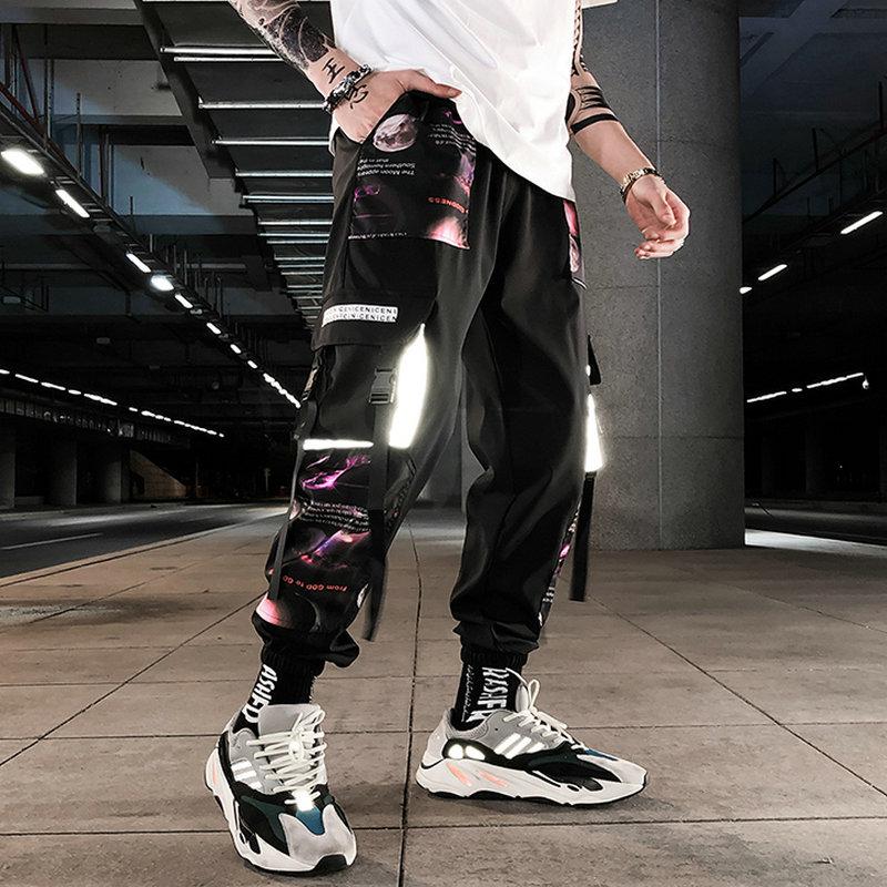Streetwear Hip Hop Men Military Pants Patchwork Pocket Side 2021 New Loose Joggers Sweatpants Men Ankle Length Trousers For Male