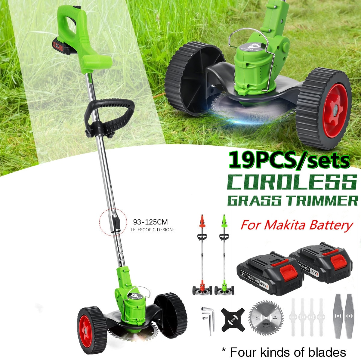 19pcs Electric Grass Trimmer 1800W Garden Lawn Mower Rechargeable Cordless Grass Pruning Tool machine For Makita 2Battery&Wheels