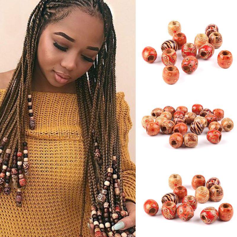 50Pcs Mixed Painted Drum Wooden Hair Beads Dreadlock Braiding DIY Making Craft