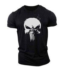 Punisher Skull กราฟิกเสื้อ T สำหรับกล้ามเนื้อชายเสื้อยืดกีฬากลางแจ้งบางและ Breathable Elasticity เสื้อยืด