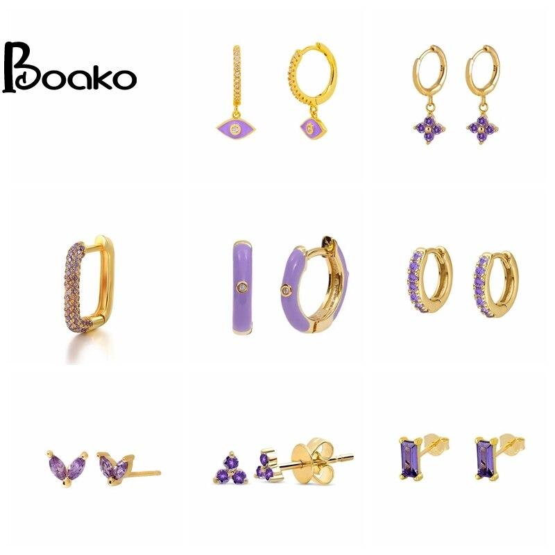 BOAKO Pendientes de Plata 925 Pendientes para las mujeres violeta Pendientes coloridos...
