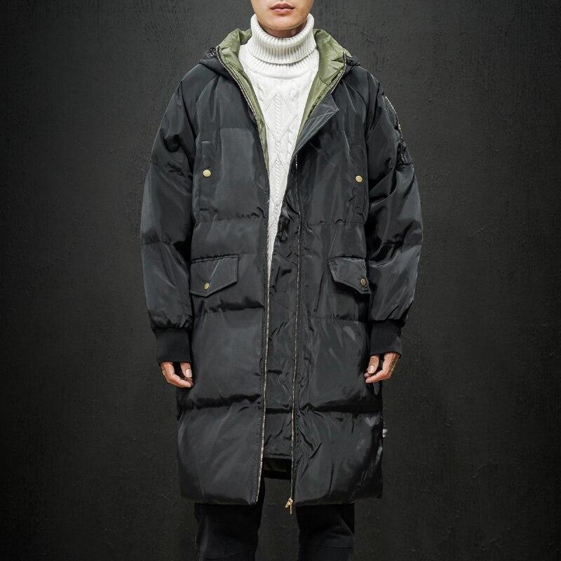 2019 invierno nueva Chaqueta larga informal con capucha Parkas para hombre moda al aire libre caliente bolsillos gruesos abrigo cazadora de gran tamaño 6687 para hombre