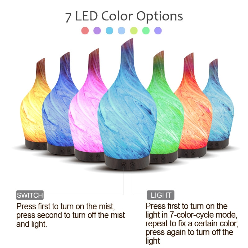 7Changing lights lamp colour changing bulb with 100ml Aroma Air Humidifier Aromatherapy Electric Diffuser Mist Maker for Home enlarge