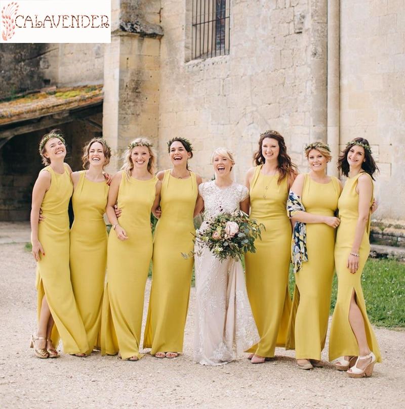 Vestidos amarillos para dama de honor, vestido largo con abertura lateral y...