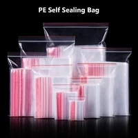 17 sizes clear plastic seal zip lock resealable clear bags closure pockets poly reclosable candy bags for snacks storages 100pcs