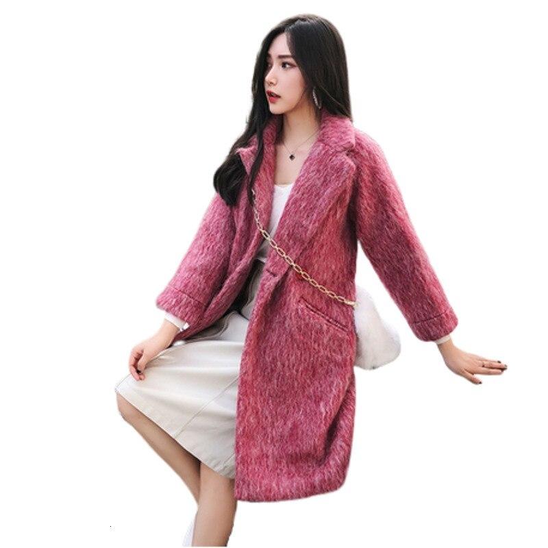 Invierno abrigo de lana las mujeres Veste Femme mujeres Jassen de invierno Shein medio sólido longitud Temperamental elegante abrigo de lana