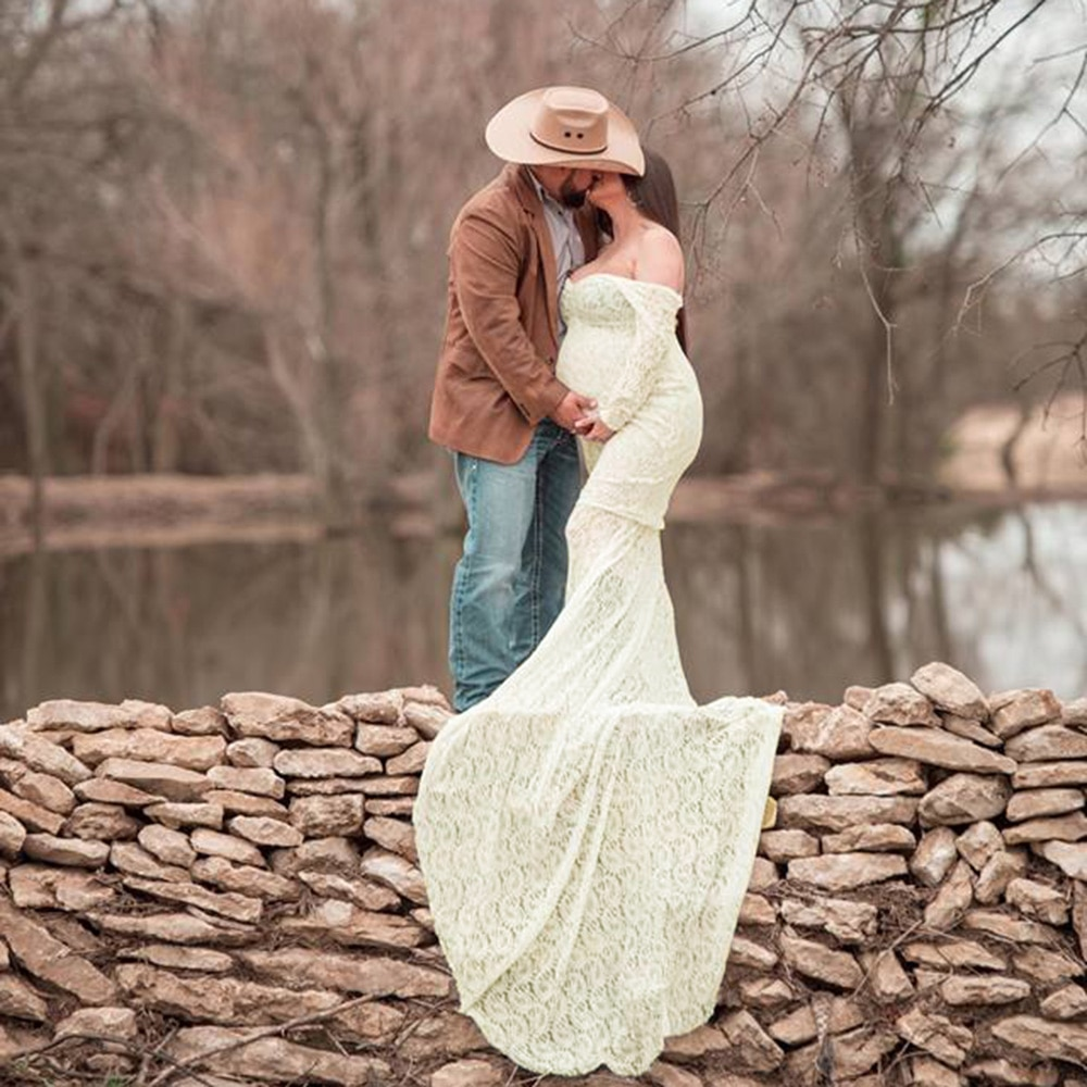 Don&Judy Maternity Lace Dress Pregnancy Photography Long Train Maxi Dress for Photo Shoot Vestidos Embarazada enlarge