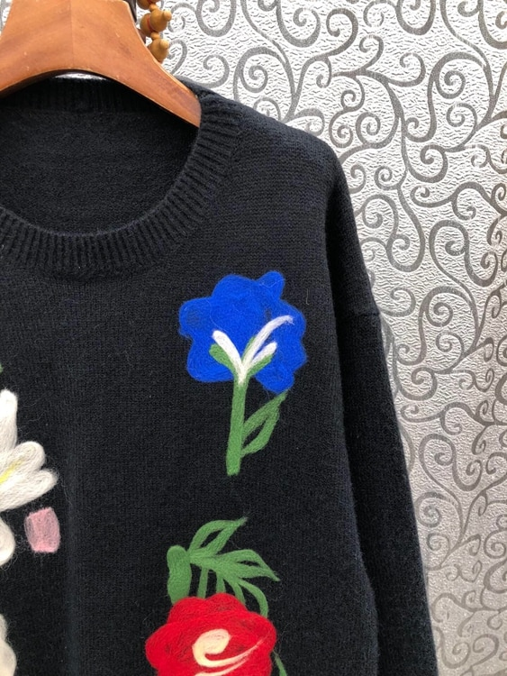 High Quality Wool Sweaters 2021 Autumn Winter Knitwear Women Rose Flower Patterns Long Sleeve Casual Loose Sweaters Knitted enlarge