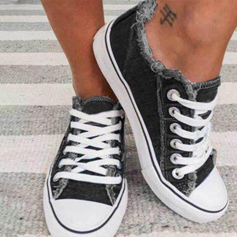 Zapatos de lona para mujer, con cordones planos para acampar, zapatos para...