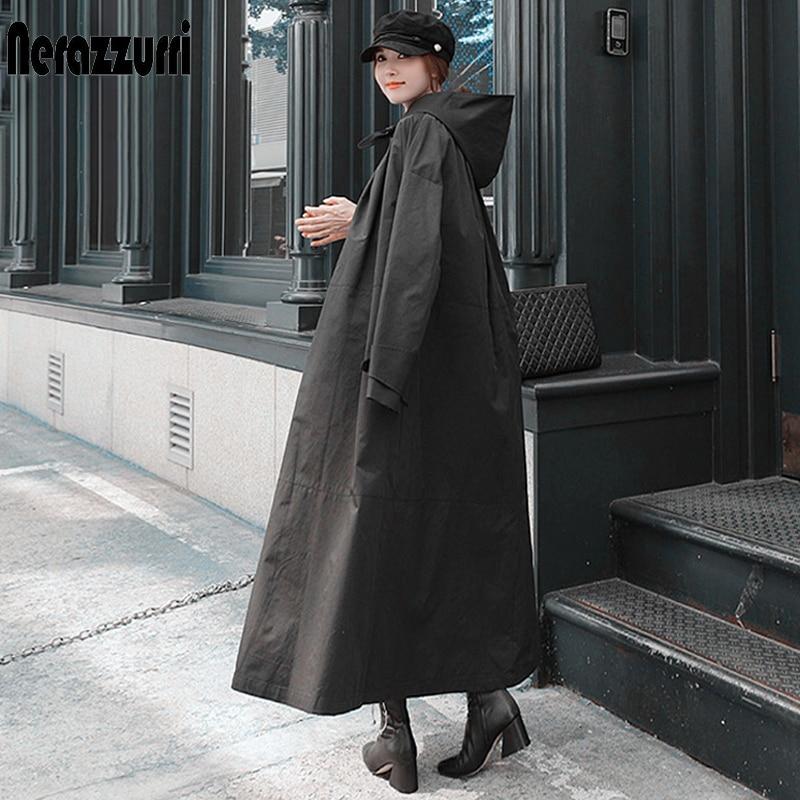 Nerazurri خريف طويل أسود مقاوم للماء معطف واق من المطر للنساء مع هود كم طويل ربيع فضفاض مصمم الكورية نمط موضة 2021