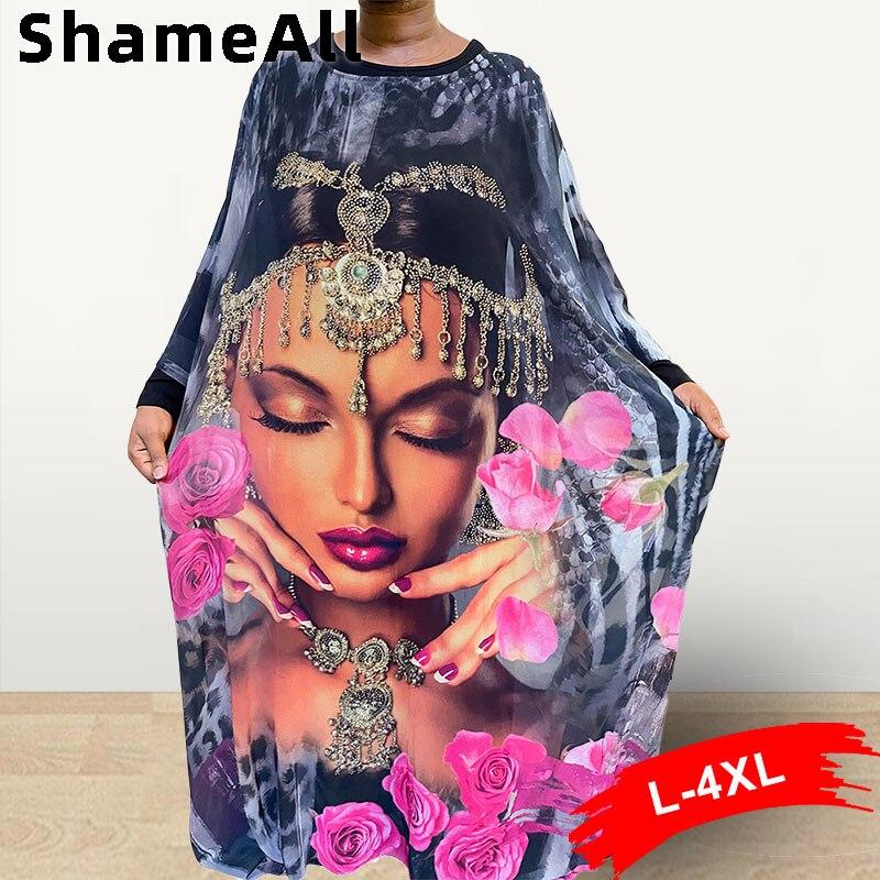 Женское платье макси с 3d-графическим принтом, кафтан 4XL, индийская красота, длинный рукав летучая мышь, мусульманское свободное женское плат...