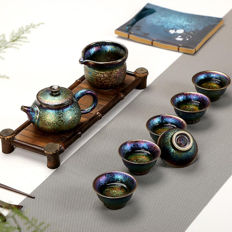 PINNY-طقم شاي كونغ فو صيني متعدد الألوان ، طقم شاي سيراميك مع صندوق هدايا ، 8 قطع