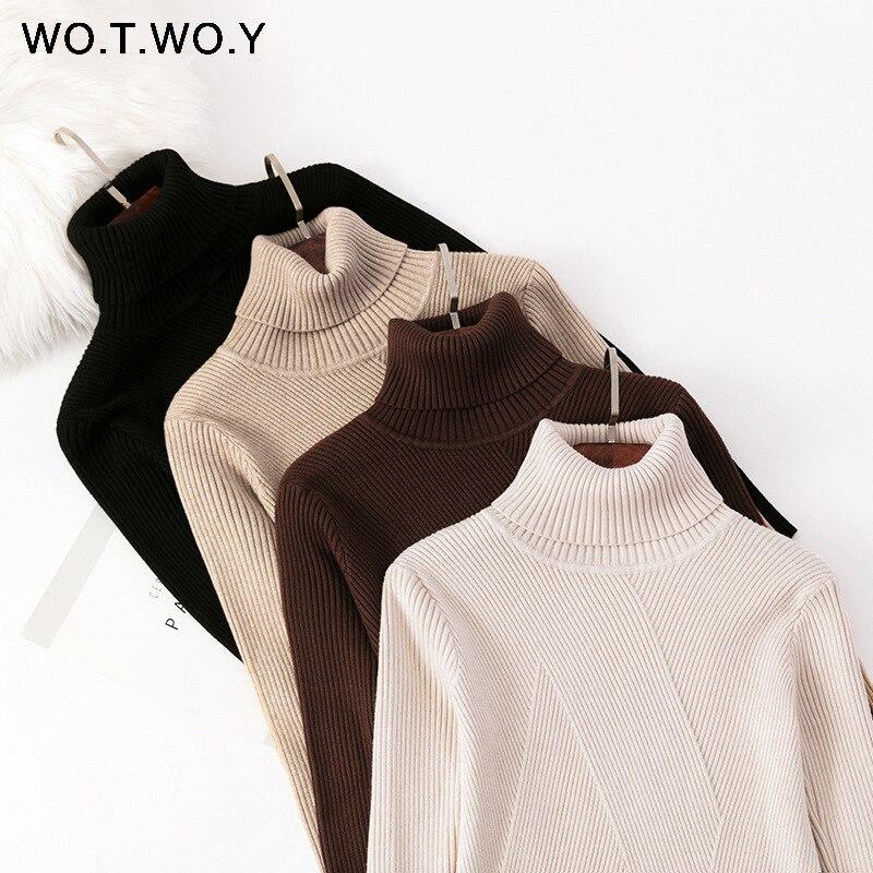 WOTWOY Otoño Invierno de manga larga de punto Jumpers mujeres Slim Fit Casual suéter de cuello alto mujeres Soft Pull Femme 2020 negro blanco