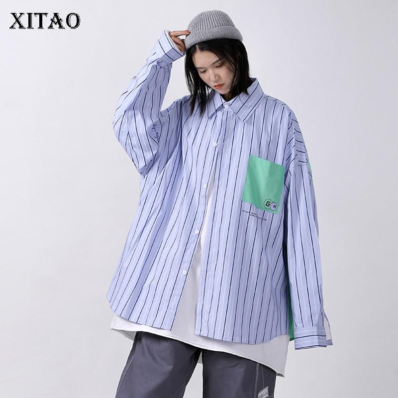 Xitao listrado carta retalhos blusa feminina moda solta todos os jogos streetwear 2020 outono personalidade manga longa camisa zp2191