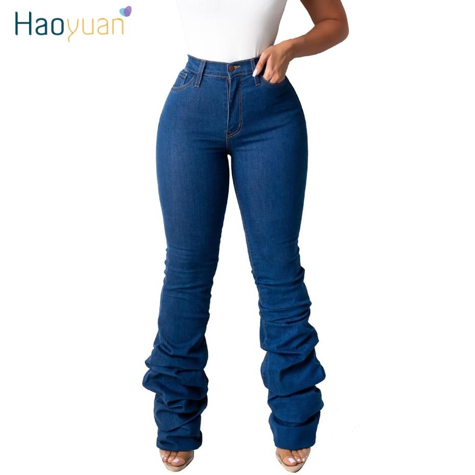 HAOYUAN Winter Draped Hem High Waisted Denim Pants Women Fall Retro Flare Jeans Straight Trousers Casual Bell-Bottoms Pants