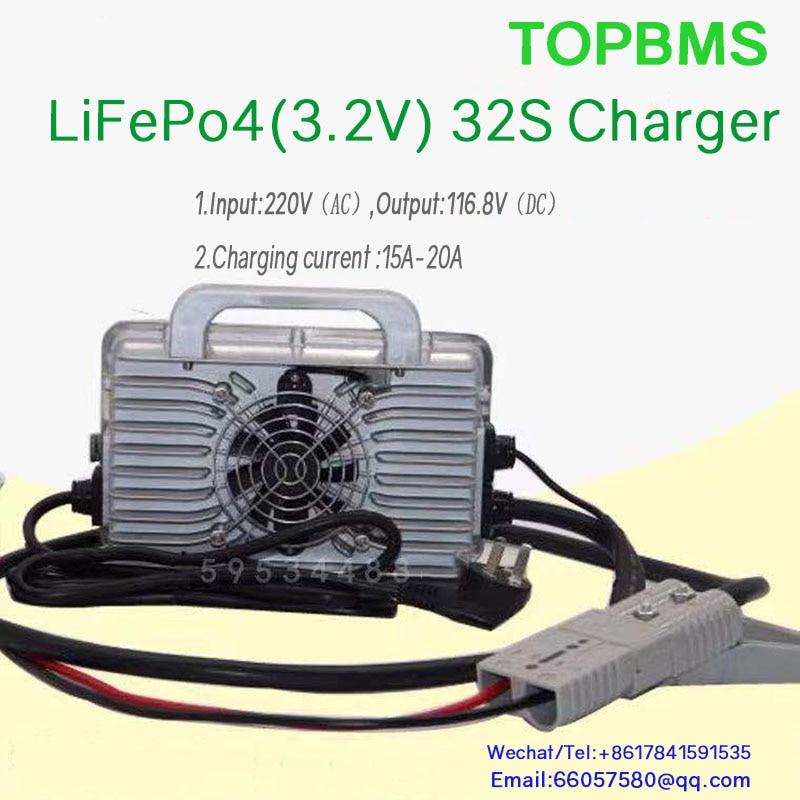 Lifepo4 32S شاحن المدخلات 220 فولت الناتج 116.8 فولت 20A ل 32 خلية Lifepo4 بطارية 3.2 فولت 32 سلسلة EV رافعة شوكية تخزين Engery لوحة طاقة شمسية