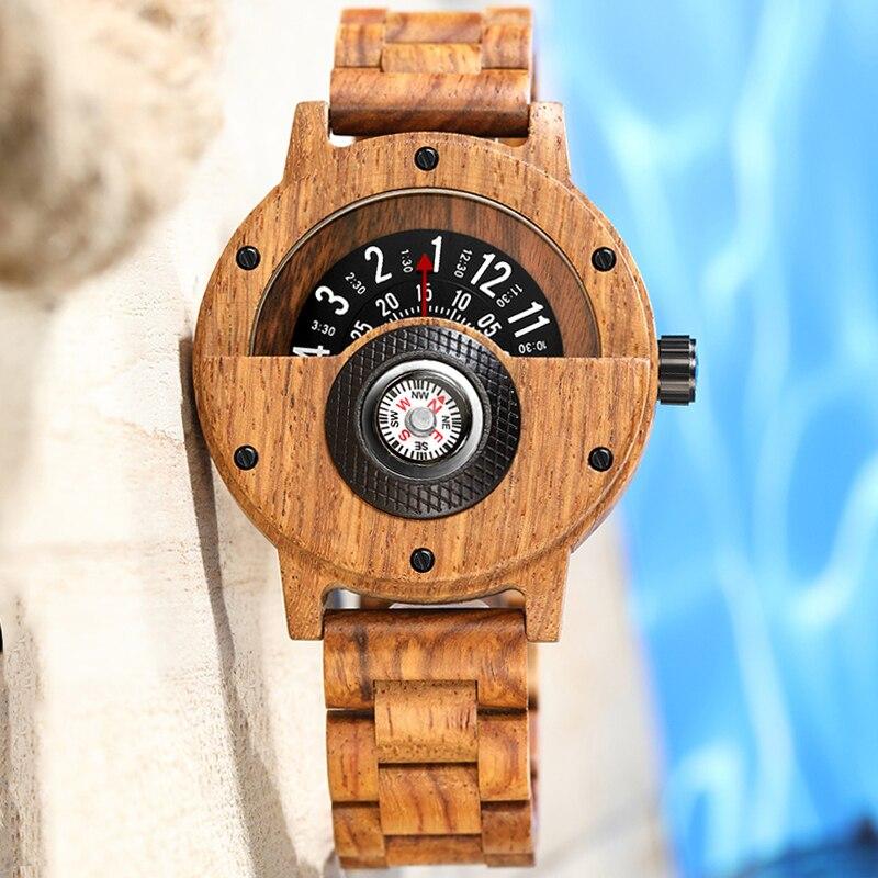 Relógio de Madeira Banda de Madeira Relógios de Pulso com Bússola Criativo Turntable Número Masculino Sólida Natural Relojes Madera