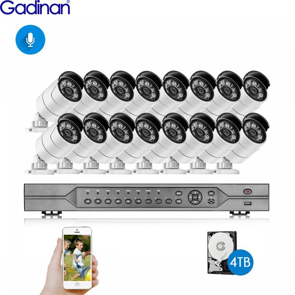 16CH 4K POE طقم NVR كشف الوجه H.265 نظام الكاميرا الأمن 5MP 4MP الصوت AI IP كاميرا في الهواء الطلق CCTV مجموعة مراقبة الفيديو