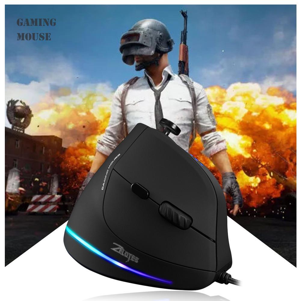 Ratón C-18 ZELOTES con 11 botones, ratón Vertical ajustable de 10000DPI, ratón RGB óptico ergonómico para videojuegos con cable USB para PC, portátil y ratón de Gamer