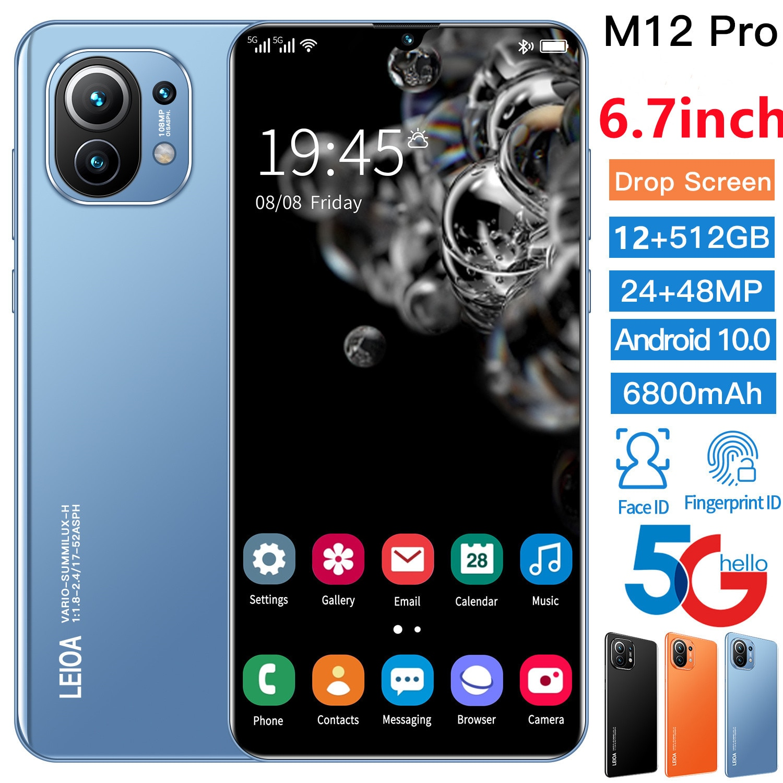 M12 Pro 6.7 Inch Smartphone Cheap Cell Phones Unlocked Full Screen 6800mAh 10 Core 24+48MP 12+512GB Dual SIM 5G Cell phone