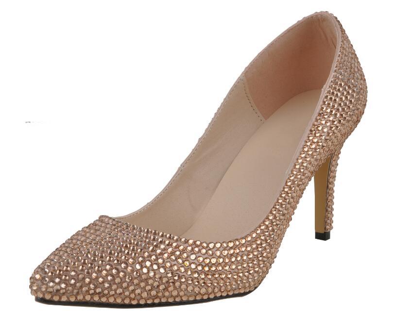2020 europeo y americano tacón de aguja con diamantes de imitación de novia, zapatos de dama de honor de cristal zapatos de baile de tacón puntiagudos zapatos para banquete