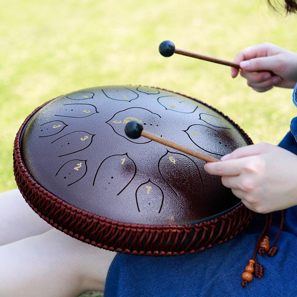 NEW Steel Tongue Drum 14 Inch 15 Tone Ethereal Drum Handheld Tank Drum Percussion Instrument Yoga Meditation Beginner Music Gift enlarge