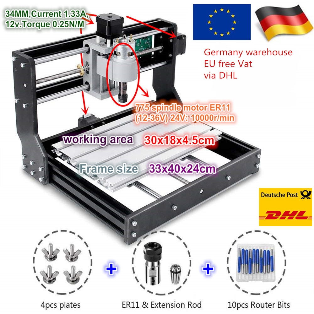 CNC 3018 Pro Mini laser engraving machine with GRBL 1.1F controller board for DIY Hobby woodworking machine 3 Axis grbl cnc offline 3 axis controller board for 3018 pro 1610 2418 3018 engraving 28tc