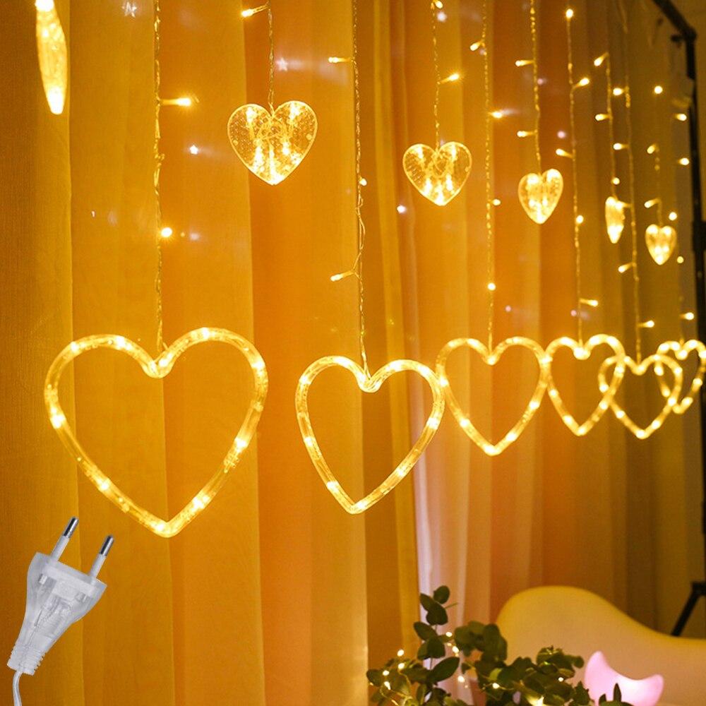 2.5M guirlandes de noël rideau en forme de coeur LED chaîne lumière 220V EU plug fête de mariage vacances éclairage guirlandes décoration