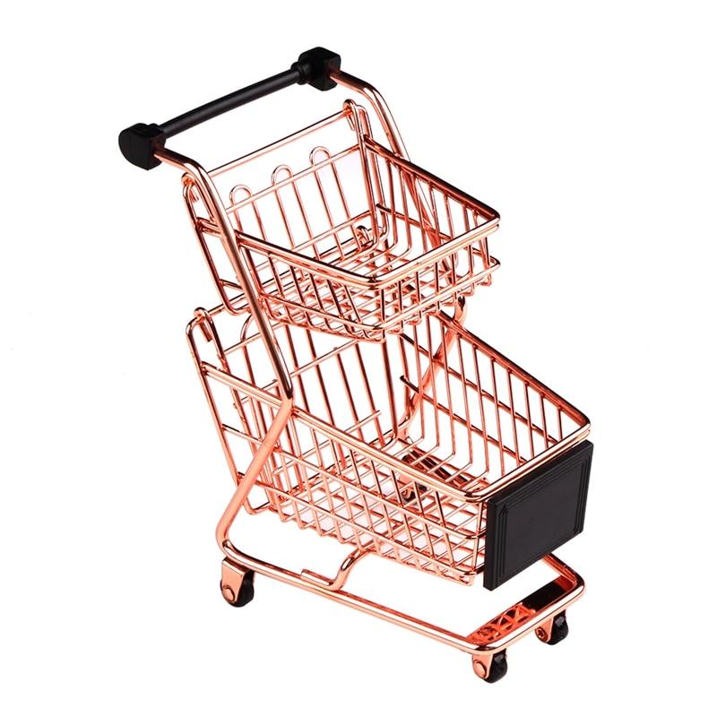Carrito de compras Mini de doble capa, carrito de supermercado de hierro forjado, cesta de almacenaje de color dorado rosa de Metal, Rosa