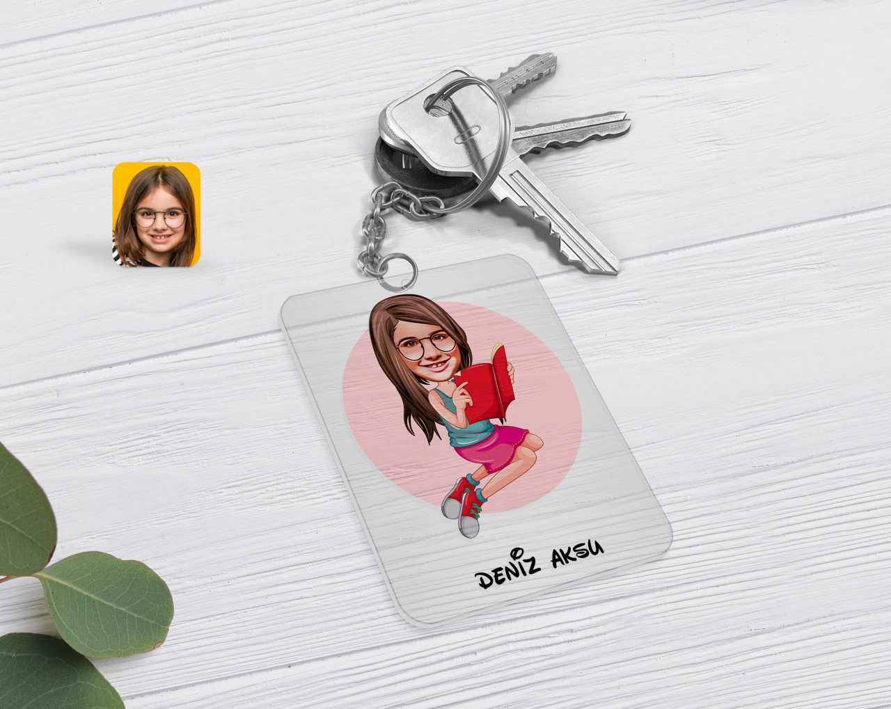 Anahtarlík-5-شخصية ، للأطفال والنساء ، من زجاج شبكي شفاف