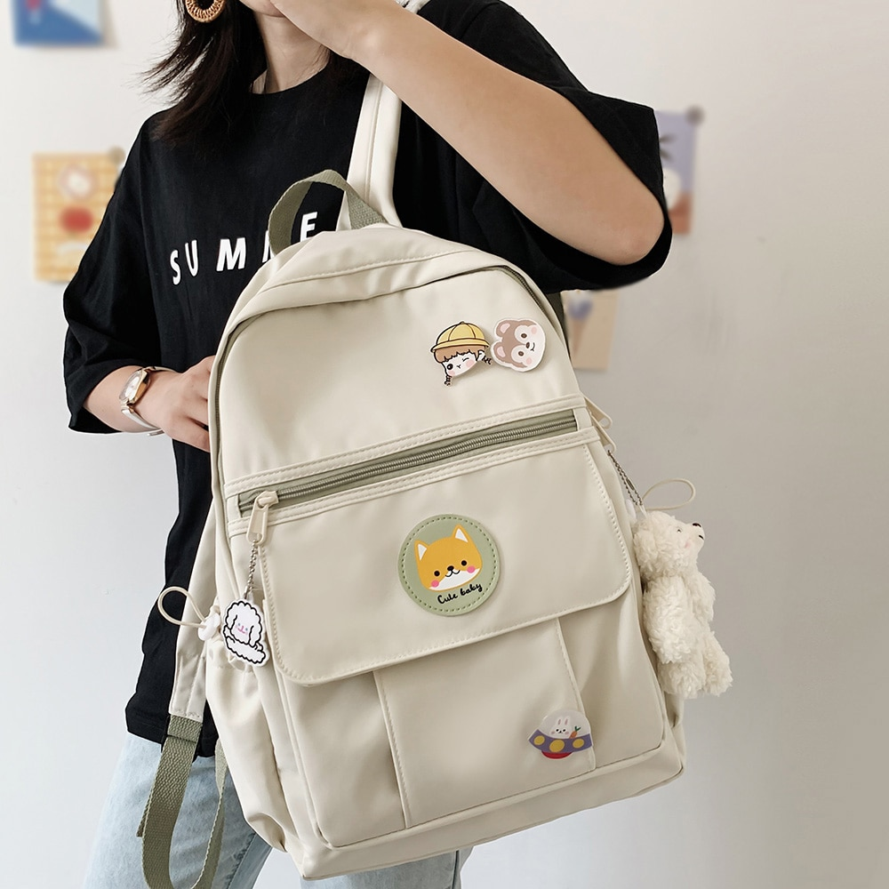 College Book Lady Badge Backpack Kawaii Fashion Girl School Bag Trendy Women Cute Backpack Nylon Fem