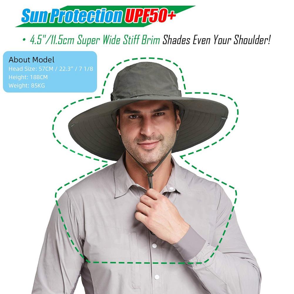 Impermeable de los hombres cubo sombrero de pesca gran ala transpirable Nylon para exterior pescador ajustable visera de Sol de un tamaño