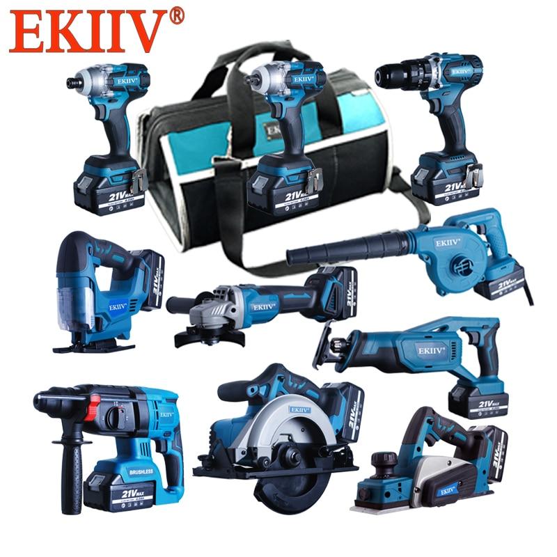 Ekiiv شعبية مجموعة أدوات الحدائق 15 في واحد فرش كومبو مجموعات 15-piece 20 فولت أدوات ليثيوم أيون اللاسلكي