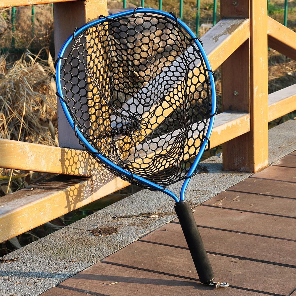 Sougayilang Foldable Fly Fishing Brail Blue Soft Rubber Landing Net 54x30x24cm Eva Handle Fly Cheap Fishing Nets Fishing Tackle