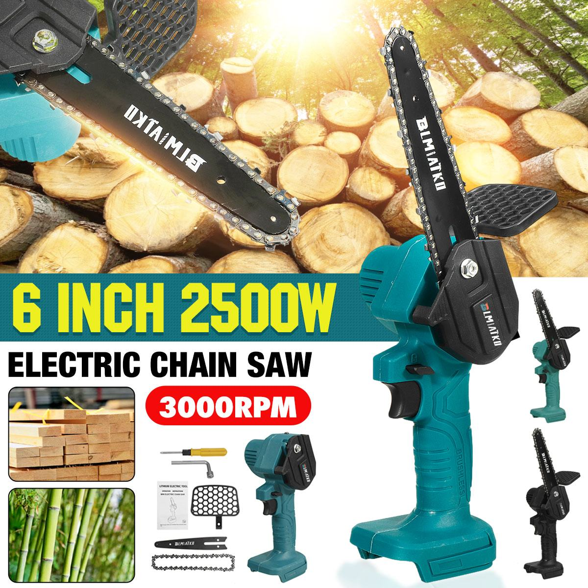 6 inch 1200w mini electric chain saw with battery indicator 128vf 388vf rechargeable woodworking tool for makita 18v battery BLMIATKO 18V 2500W 6 Inch Electric Chain Saw for Makita Battery Pruning ChainSaw Cordless Garden Logging Saw Woodworking Cutter