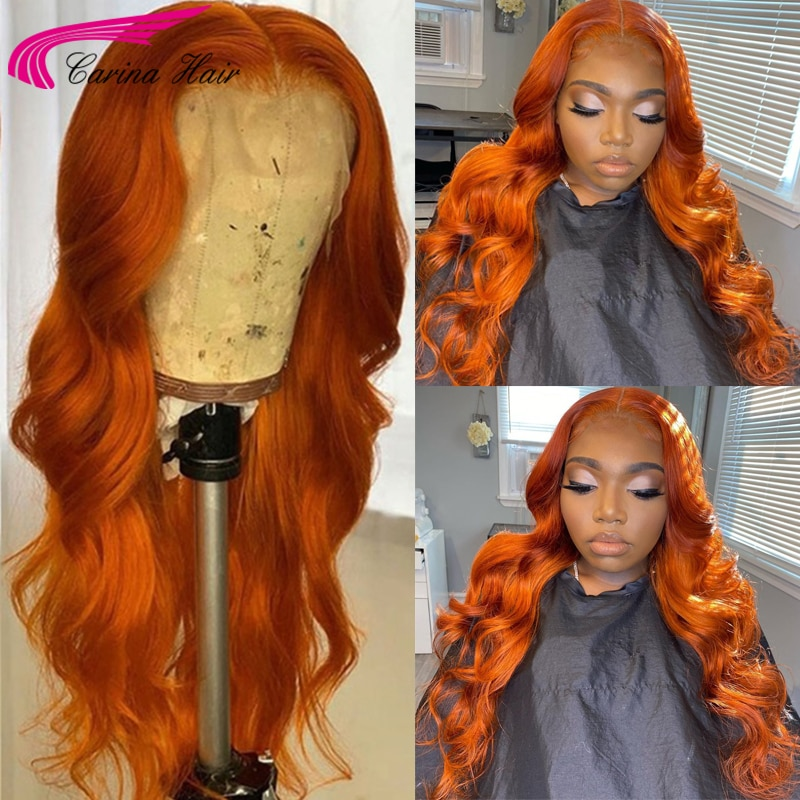 Ginger Orange Colored 13x4 Lace Front Wigs 180% Human Hair Wigs For Women Brazilian Remy 4*4 Lace Closure Wigs Wigs Preplucked