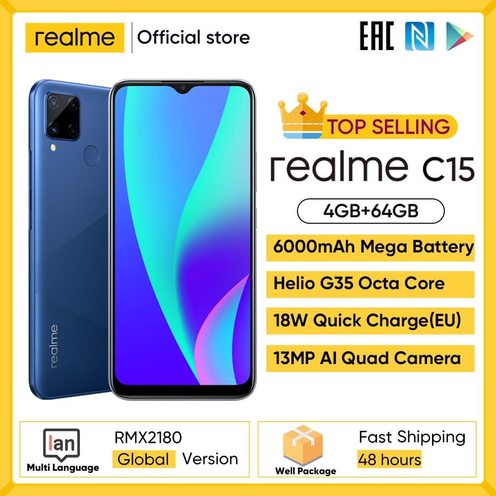 Realme-هاتف محمول, هاتف ذكي موديل C15 إصدار دولي ذاكرة 4 جيجا بايت حافظة 64 جيجا بايت بطارية 6000 مللي أمبير شحن سريع هاتف محمول 6.5 بوصة هاتف أندرويد