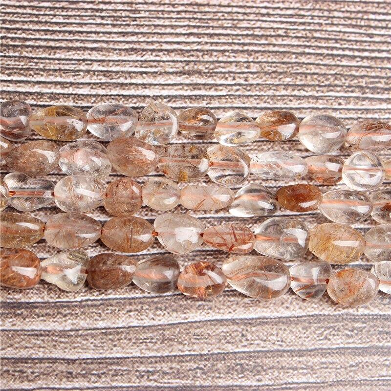 Lan li natural irregular cobre cabelo de cristal solta contas suave solto intervalo grânulo jóias diy pedra pulseira colar