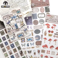 Mr. Paper 6 Designs  Ins Style Gentle And Trivial Series Animal And Plant Hand Account DIY Decorative Collage Material Sticker