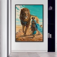 africa wild lion with girl canvas printing art fantasy wall poster painting for living room bedroom decorative paintings cuadros