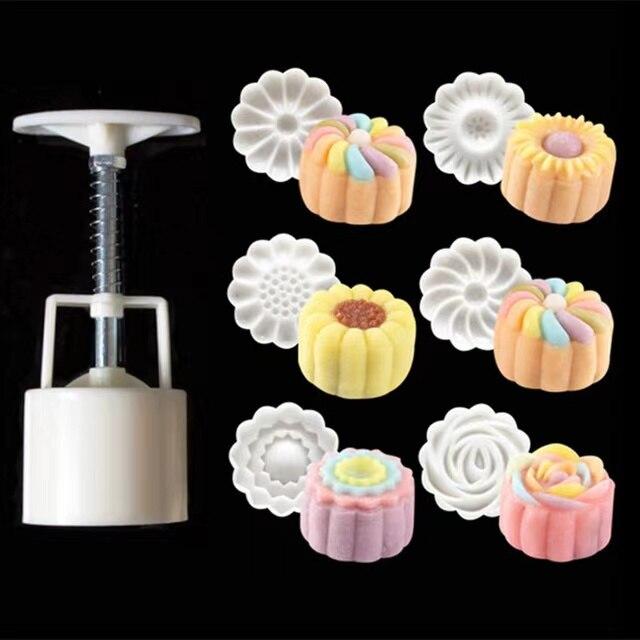 6 шт./компл., форма в форме цветка, 50 г, форма для торта, ручное давление, помадка, луна, инструменты для украшения торта, резак для печенья, инст...